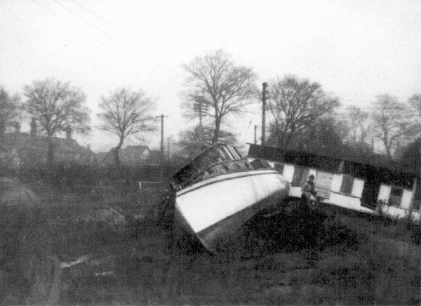 Houseboats at West Mersea after the 1953 flood.