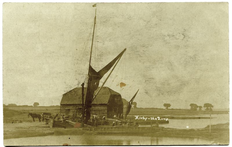 Kirby - the quay. Sailing barge FRED. She belonged to Smeed Dean & Co, of Kent and had probably brought bricks. 