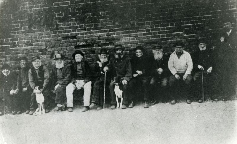 Deep sea smacksmen in old age. A group at Rowhedge about 1890.