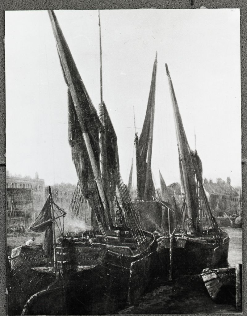 Faversham sailing barge, Goldfinch's GARIBALDI, built 1861, when she had been converted to a sprittie. From a painting by James Webb at Chelsea in the 1880s. Her four shrouds aside and bulky hull show her origins as one of the pioneer ketch barges. 