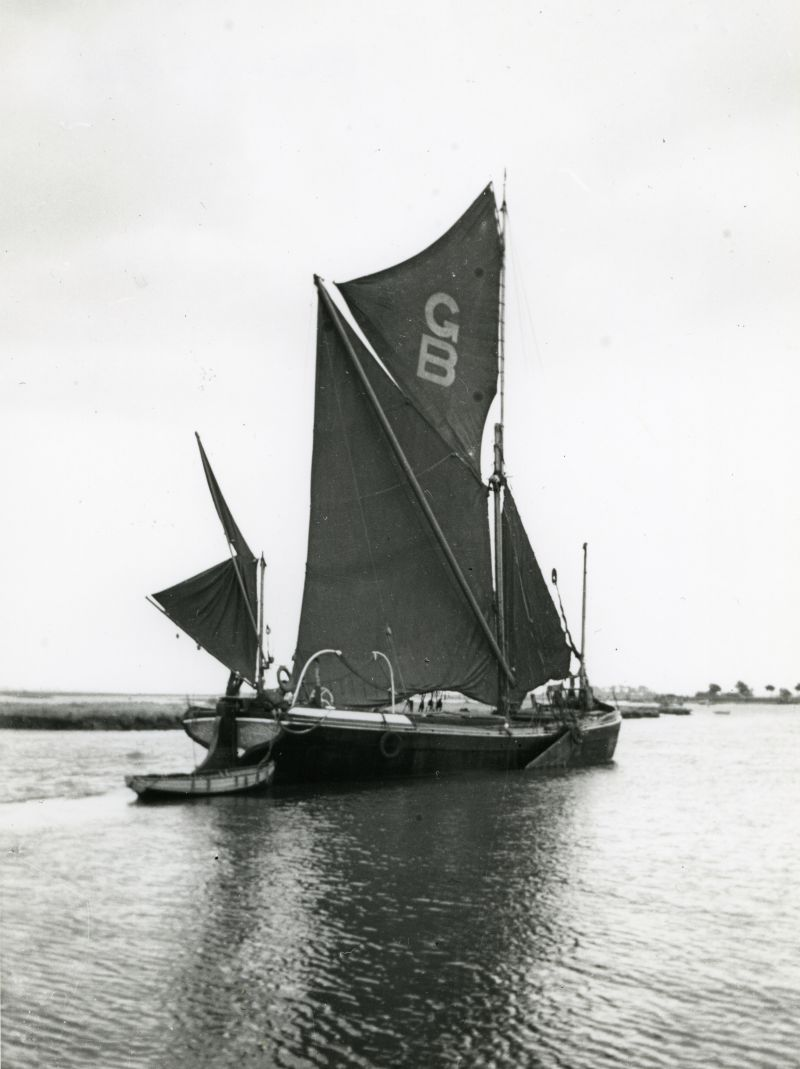 Barge MAY FLOWER at Maldon. GB on the sail is Green Brothers, her owners. 