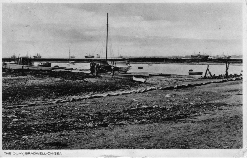 The Quay, Bradwell on Sea. Postcard, postally used in 1932. 