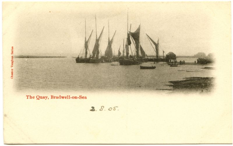 The Quay, Bradwell on Sea. A postcard marked 3.8.05