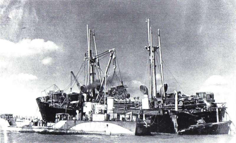 Discharging cargo from Liberty Ship HELENA MODJESKA after she went ashore on the Goodwin Sands 12 Sept 1946. 
