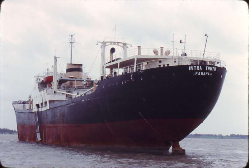 INTRA TRUTH laid up in the River Blackwater 16 October 1982. Date: 1982.