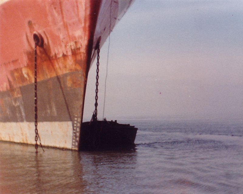 MANCHESTER RENOWN laid up in the River Blackwater, Essex Date: c1982.