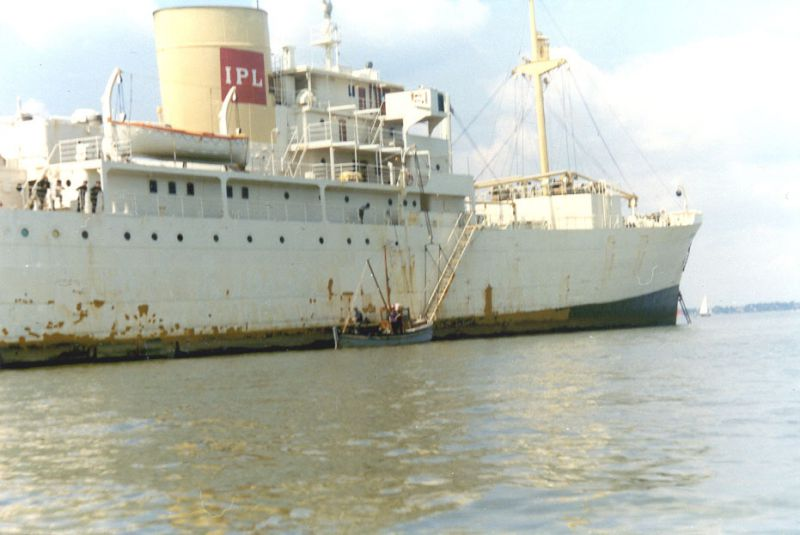 MARONIA in the River Blackwater with WHATS NAME alongside. Date: 1971.
