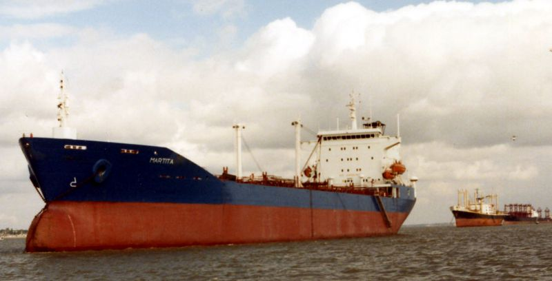 Tanker MARTITA laid up in the River Blackwater. Astern are CAPTAIN JOHN and MYRMIDON.