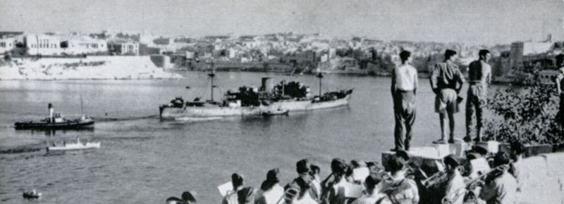 ROCHESTER CASTLE arriving Malta August 1942 Date: August 1942.