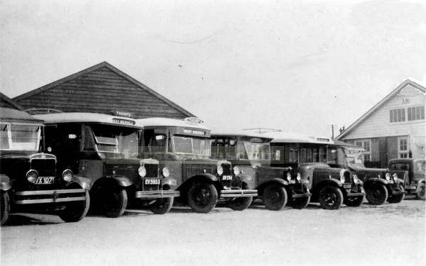 Thorp's bus fleet at the Griffon Garage West Mersea