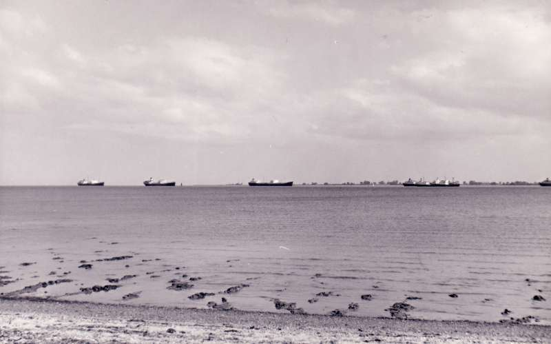 ID AA002080 Tankers laid up in the River Blackwater, viewed from West Mersea. About 1960.