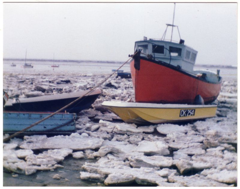 Boats at West Mersea in an icy winter. 