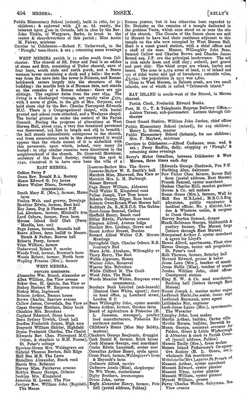 Kelly's Directory 1917 Page 404. 