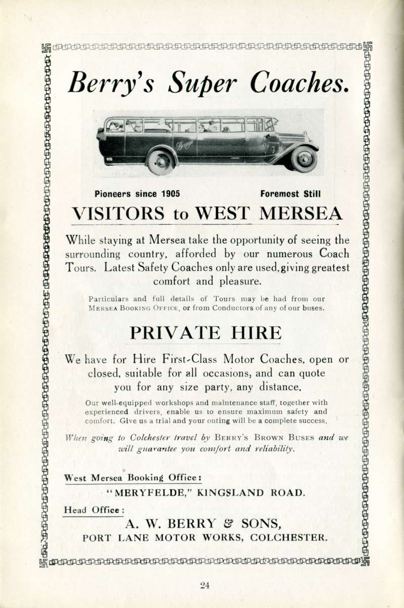 West Mersea Official Guide Page 24. Berry's Super Coaches. A.W. Berry & Sons, Port Lane Motor Works, Colchester.