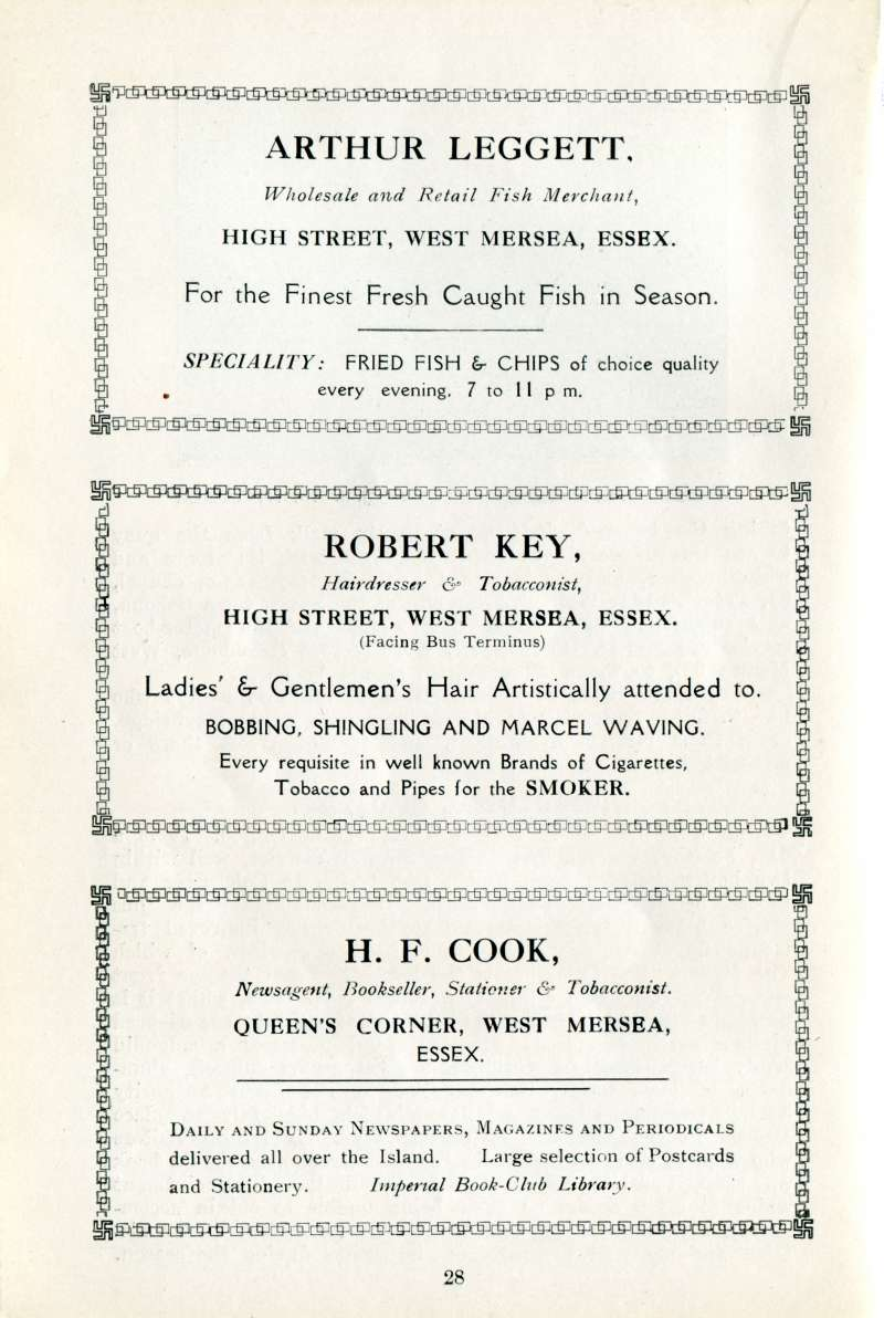 West Mersea Official Guide Page 28. Arthur Leggett, Robert Key, H.F. Cook. 