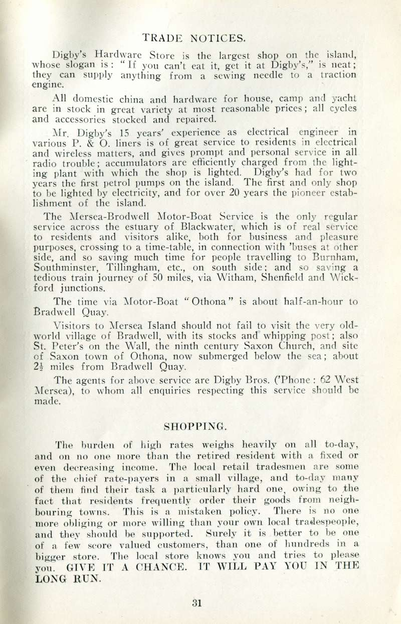 West Mersea Official Guide Page 31. 
