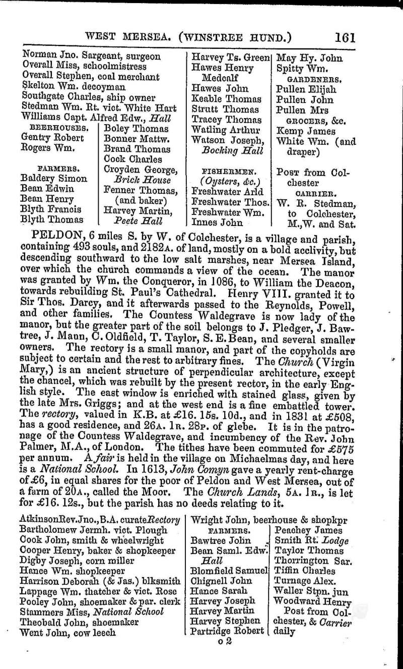 White's Directory 1848 Page 161. West Mersea contd. Peldon.