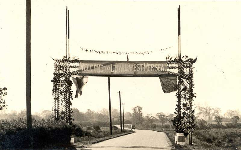 1937 Coronation Arch at bottom of Langenhoe Hill