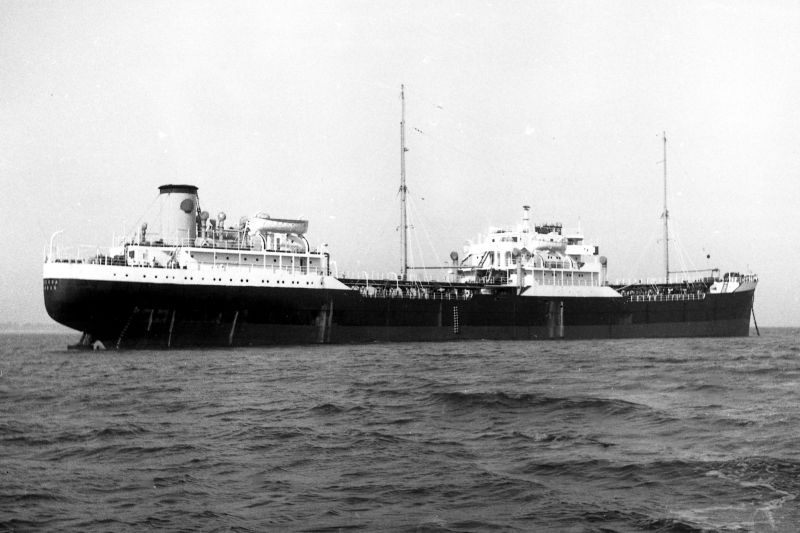Shell tanker LABIOSA, thought to be whilst laid up in River Blackwater 1963-64. 6,473 tons gross, built 1948. Date: c1964.