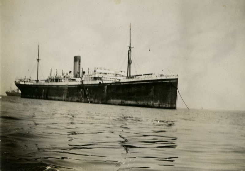 Shaw Savill line vessel laid up in River Blackwater, before WW2.
