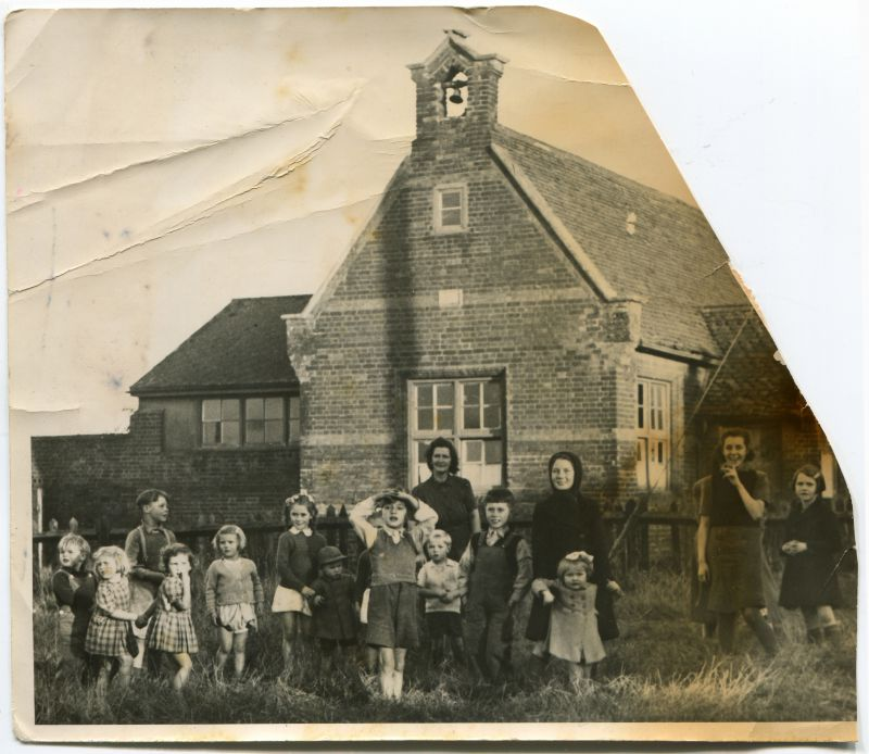 Salcott School. The photograph was damaged in a fire at Kay's office 