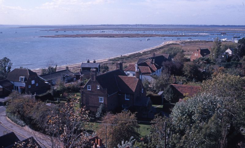 View from West Mersea church tower. Coast Road and Yew Tree House. 