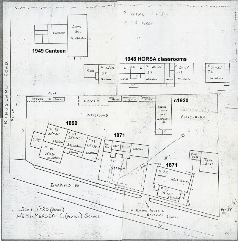 West Mersea C. (All-age) School. Map. November 1955. Compiled from 4 sheets and not to scale. 
