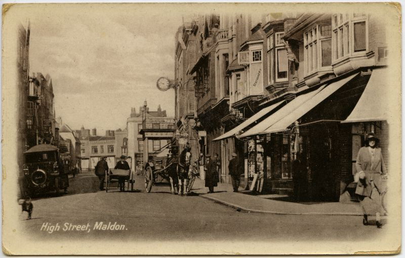 High Street, Maldon. The car on the left is a Bentall, made at Heybridge. 