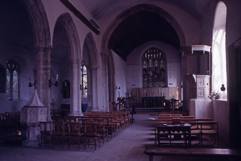 East Mersea Parish Church - interior. A slide from This is your Life - Revd. John Swallow, 1985. 
