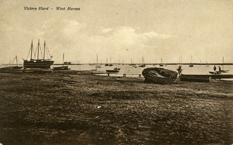 160. ID PG2_357 Victory Hard, West Mersea. Pre-war picture the barge ZEBRINA having an engine fitted by Mr Stone of Brightlingsea - information from Harry Booth via Ron Green.