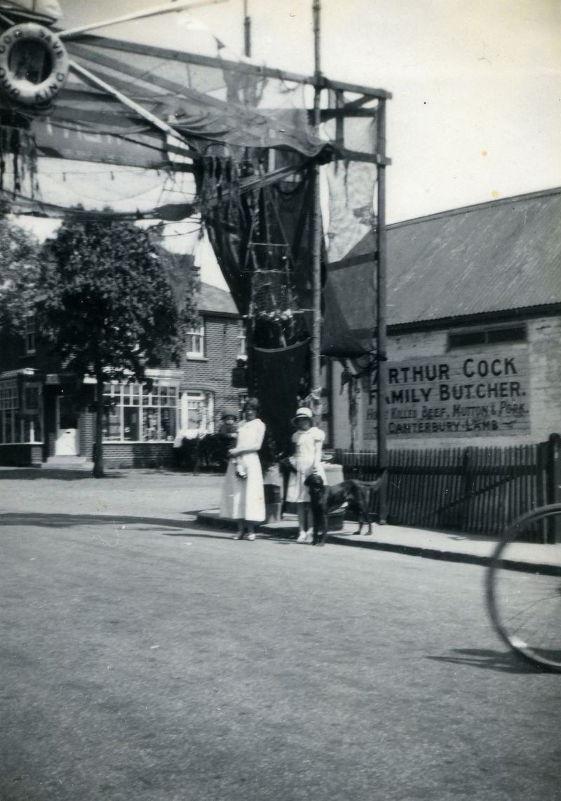 1935 Jubilee Arch corner of High Street and Yorick Road. Arthur Cock, Family Butcher.