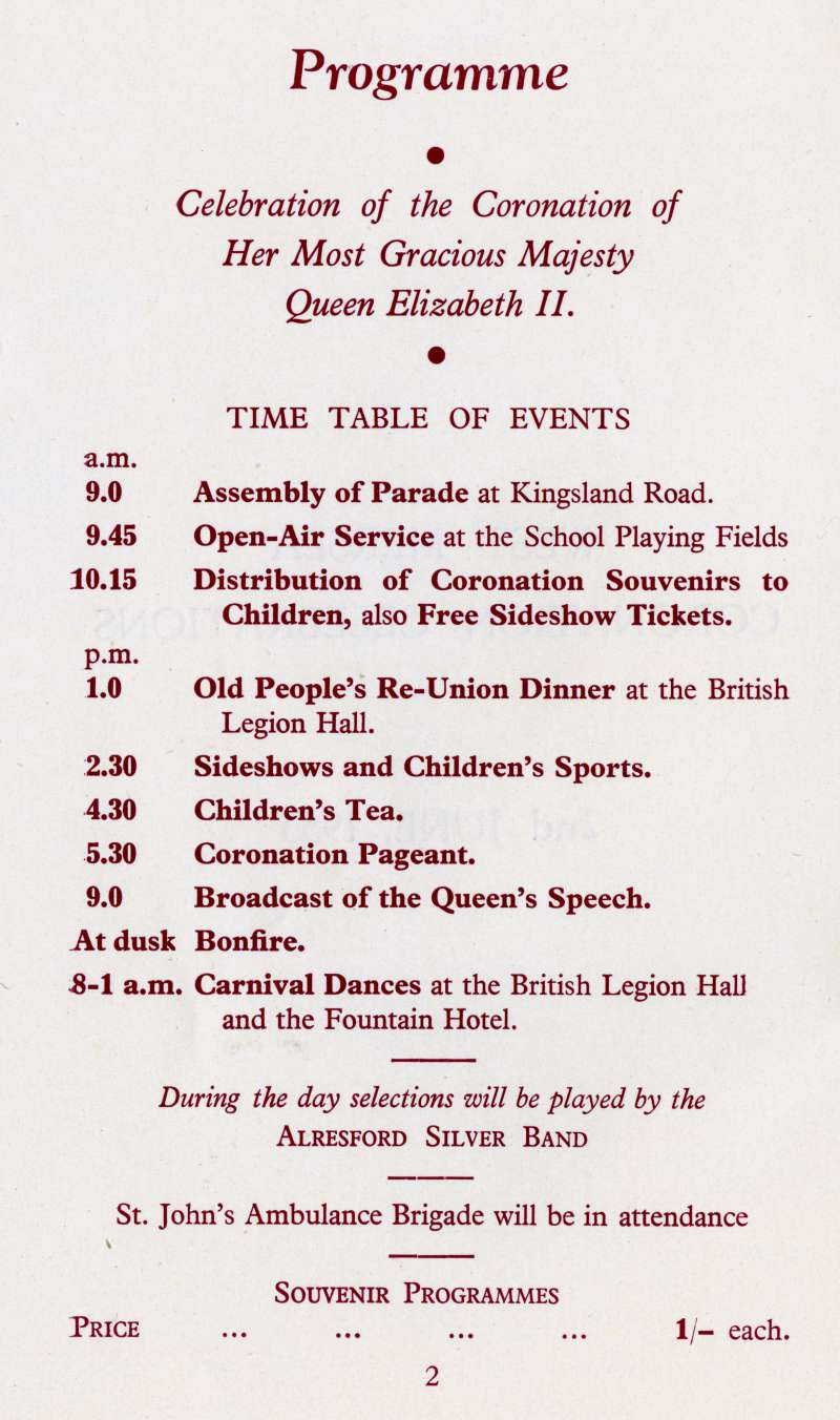 West Mersea Coronation Celebrations page 2.