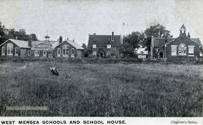 West Mersea Schools and School House. Cleghorn Series postcard. The gentleman sitting in the deck chair in the field would now be in the middle of the Co-op store. Cleghorn was most active 1902 - 1908, so photograph probably dates from this period. 