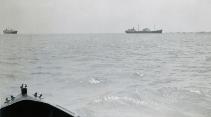 Shell tankers laid up in the River Blackwater. HELICINA on the left, HYALINA on the right. Date: 1959.