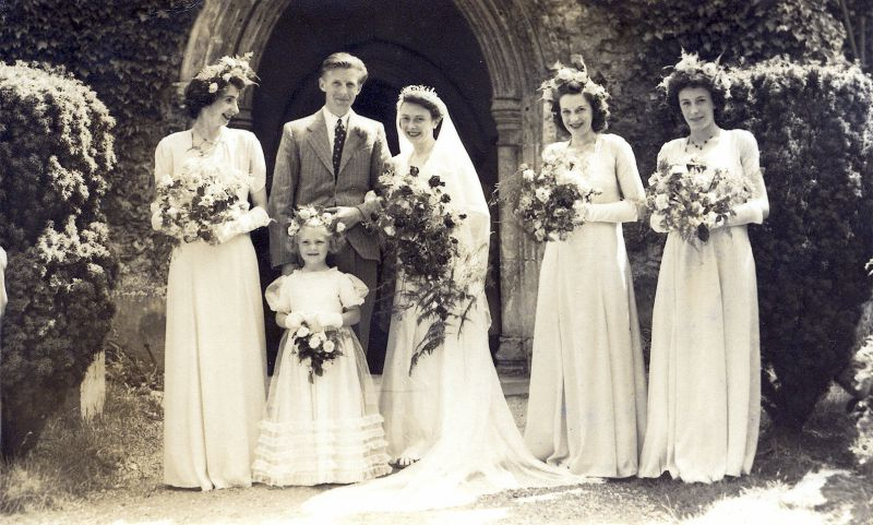 Wedding of Ruby Balls and Peter Tucker on 26 June 1948. The wedding service was performed by Rev. Hughes, Vicar of West Mersea.