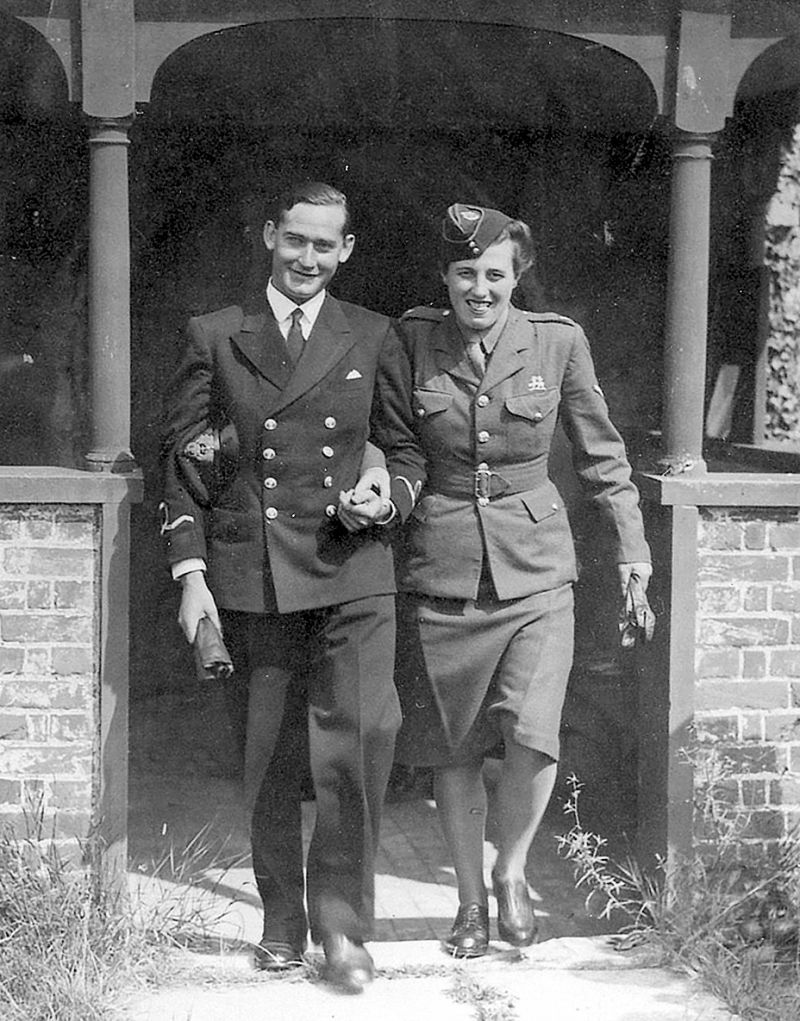 Edith Margaret (Peggy - née Marriage) and Linden Le Marquand leaving the Church of St. Edmund, King and Martyr, East Mersea after their marriage on 17 August 1944. The groom was a sub lieutenant in the RNVR and came from Jersey. 