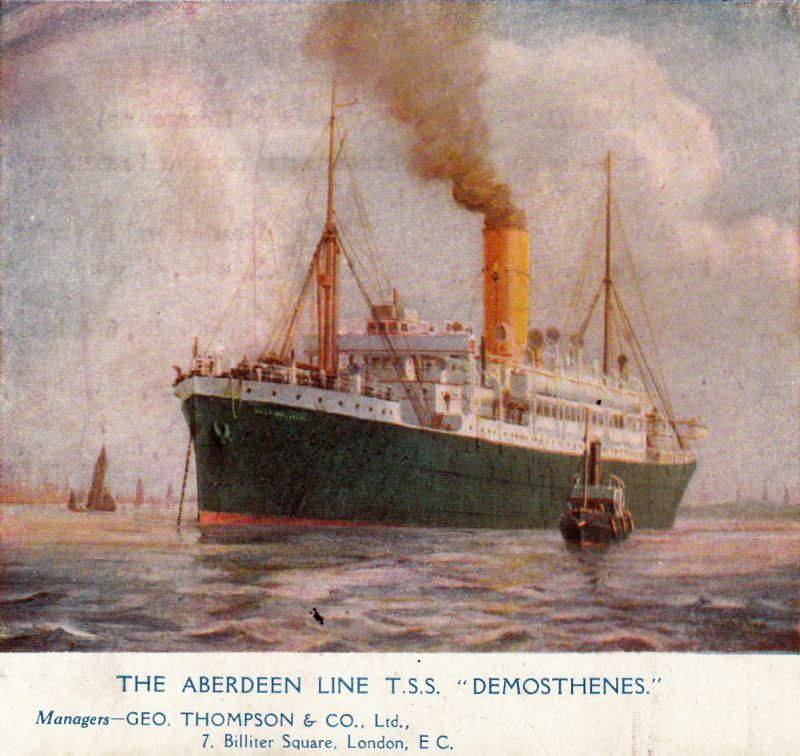 The Aberdeen Line Triple S.S. DEMOSTHENES. She was built 1911 for the service to South Africa and Australia, and scrapped in 1931. 11,223 tons gross. Official No. 129362. Manager Geo. Thompson & Co.