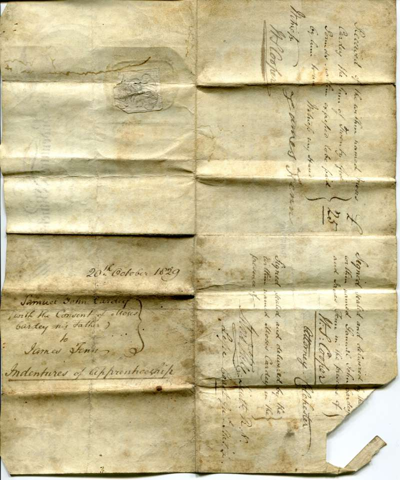 Indentures of Apprenticeship for Samuel John Cardey. with the consent of Moses Cardey his father, to James Fenn.