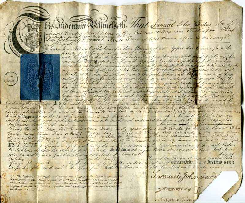 Indenture for Samuel John Cardey, son of Moses Cardey, of West Mersea in Essex but now residing near Southampton, Chief Boatman in the Preventive Service there. Apprentice to James Fenn of West Mersea, wheelwright and carpenter. 