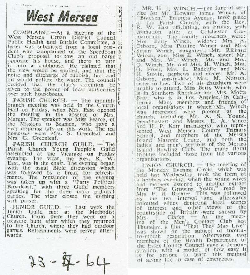 West Mersea news - thought to be from Colchester Express.