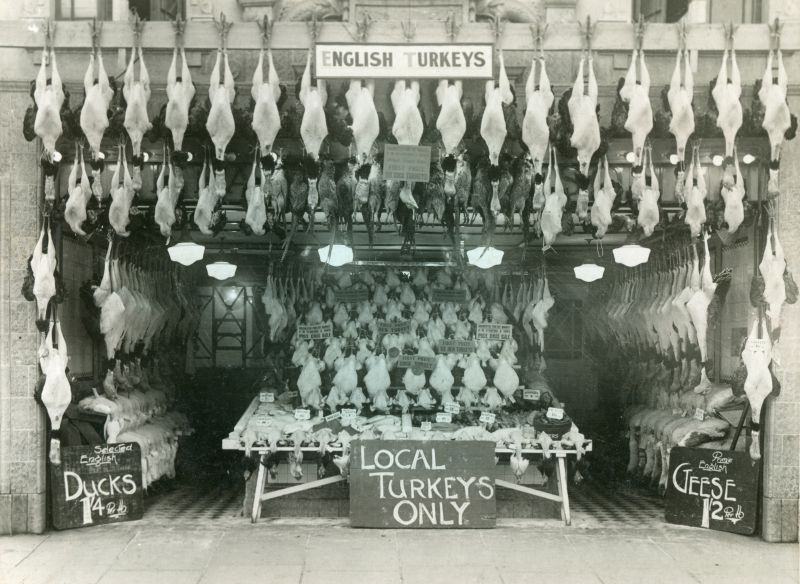 Turkeys for sale at Hearsum's fish shop in Crouch Street, Colchester. Thought to be a pre-WW2 photograph - Leslie Boddington worked there.