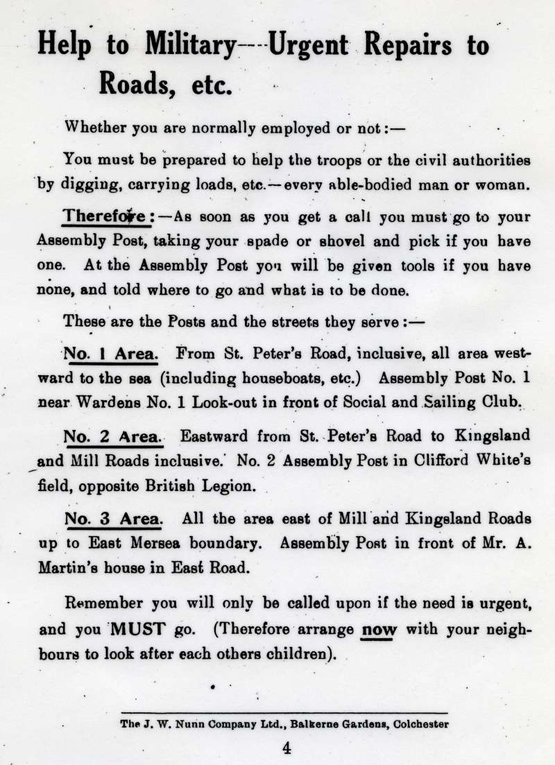 What you are to do in case of invasion or heavy bombing.