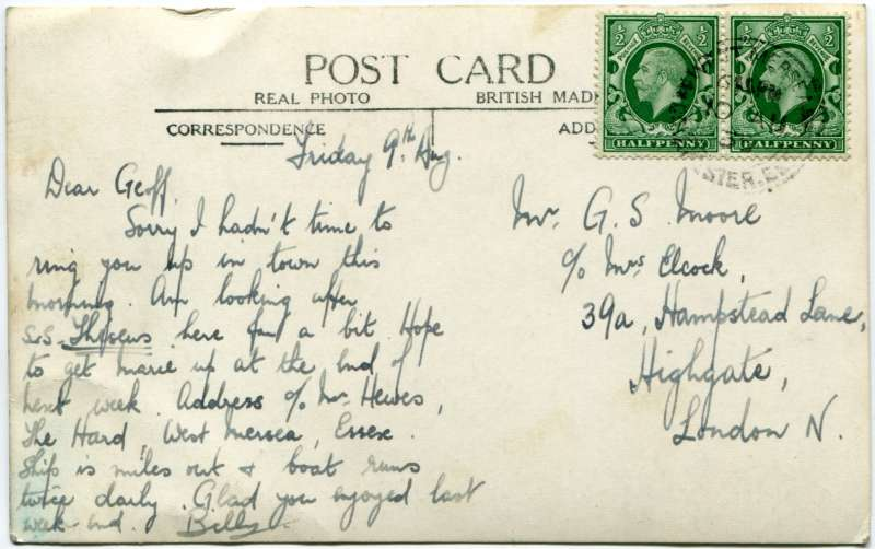 Back of postcard RG03_421, posted by Billy to Geoff Moore in London 10 August 1935.