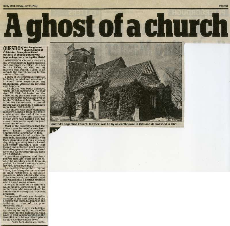 A ghost of a church. Daily Mail article on Langenhoe church, speculating that it was demolished because of alleged paranormal happenings in the 1940.