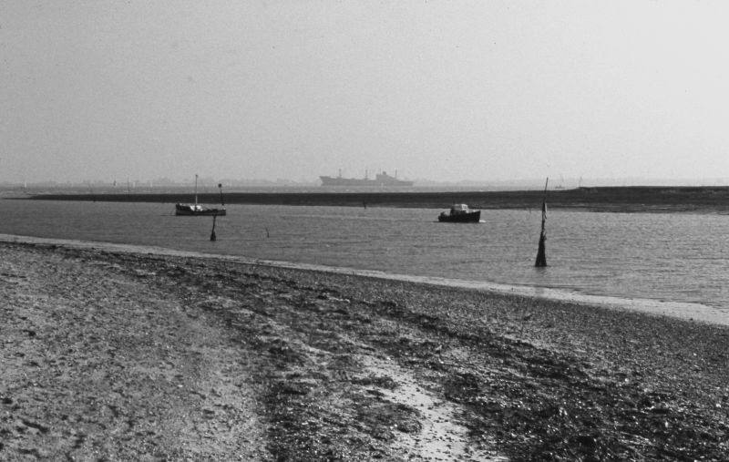 Besom Creek at the western end of Mersea Island with the River Blackwater beyond. The vessel laid up in the river is thought to be WILD AUK, 9,601 tons gross, built 1971. She was sold and renamed OLYMPIAN REEFER in 1980, broken up at Mumbai in 1999. Date: Before 1991.