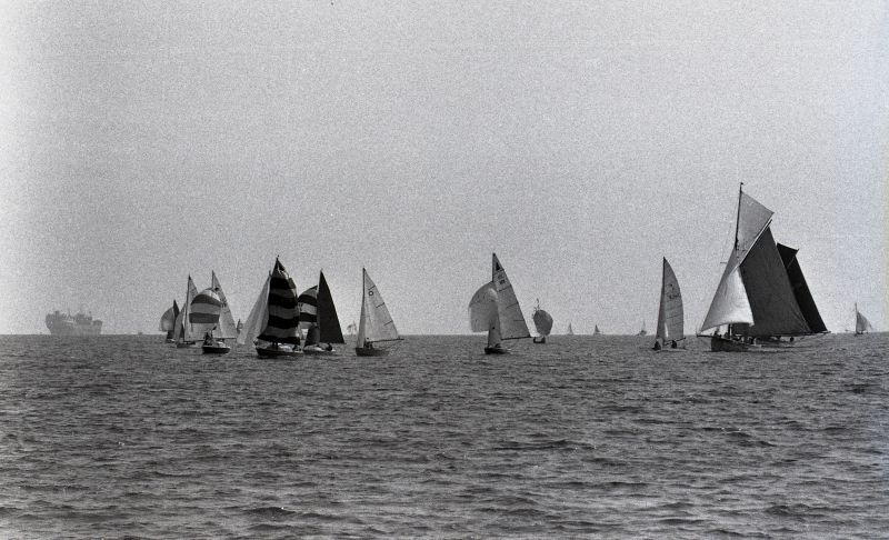 Sailing in the Blackwater. The laid up tanker on the left is thought to be ARO which was in the River from 4 July 1975 to November 1978.