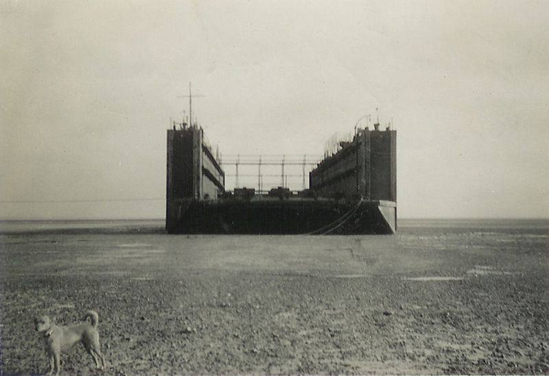 Floating Dock which had been laid up in the Blackwater after the war, and ended up on the beach near Decoy.