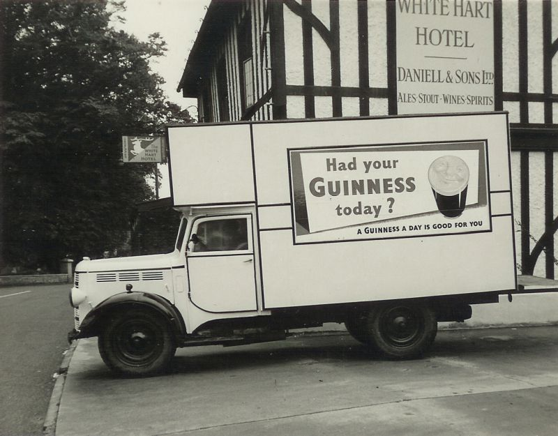 Charlie Ward's carrier's van outside the White Hart at Mersea. Had your Guinness today ? The White Hart Hotel has ales from Daniell & Sons Ltd. 
