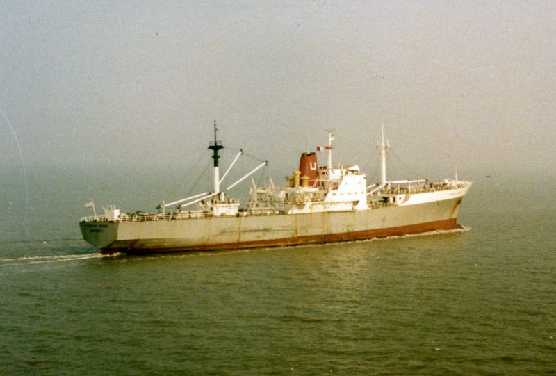 AUSTRALIA FREEZER leaving the River Blackwater Date: 20 February 1984.