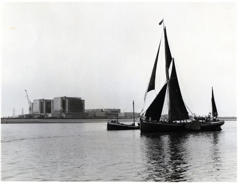 Motor Barge PORTLIGHT and Sailing Barge SPINAWAY C in the River Blackwater off Bradwell Power Station. Essex County Standard photograph. 